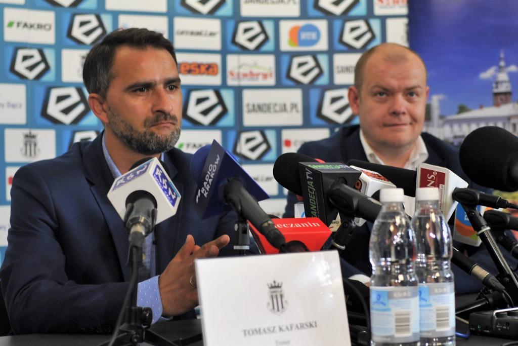 Sandecja: trener Tomasz Kafarski i prezes Tomasz Michałowski