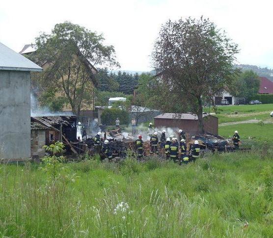 Pożar budynku gospodarczego w Gołkowicach Dolnych