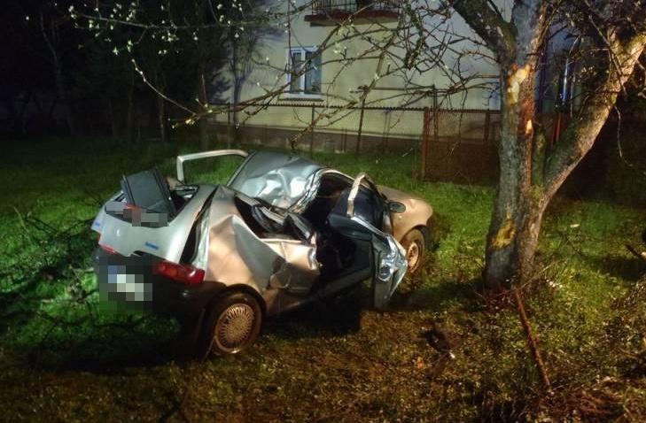 Naszacowice, samochód wypadł z drogi