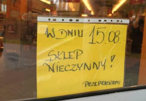 15 sierpnia sklepy będą zamknięte