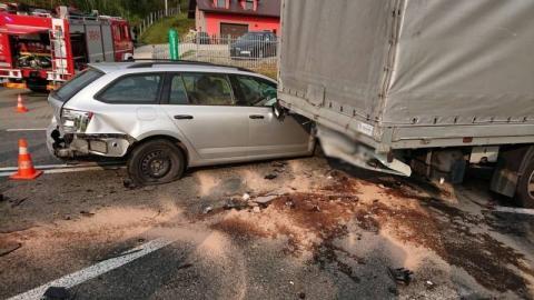 Karambol na drodze krajowej 75 w Bilsku. Zderzyły się trzy samochody