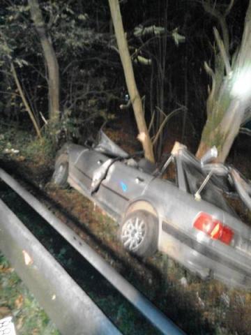 Audi tak mocno uderzyło w drzewo, że strażacy usuwali dach i drzwi, żeby wyciągnąć kierowcę