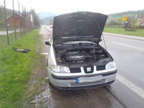 pożar auta Jazowsko