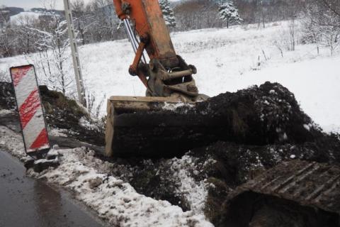 budowa chodnika na ulicy  kamiennej w nowym Sączu