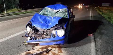 Nie przeżył zderzenia z samochodem na starosądeckiej obwodnicy