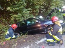 Wypadek w Korzennej. Samochód wypadł z drogi [ZDJĘCIA]