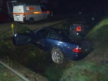 Stary Sącz: auto wypadło z drogi, uderzyło w znak i transformator [ZDJĘCIA]
