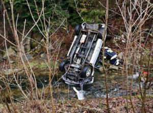 Tragiczny wypadek w Obidzy: samochód wpadł do potoku. Nie żyje kierowca