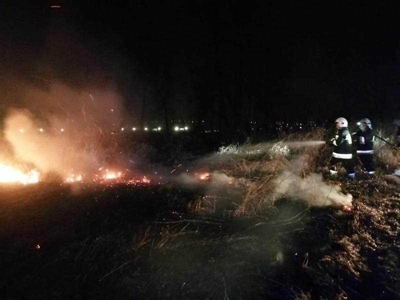 Płoną suche trawy. Strażacy jeżdżą od pożaru do pożaru
