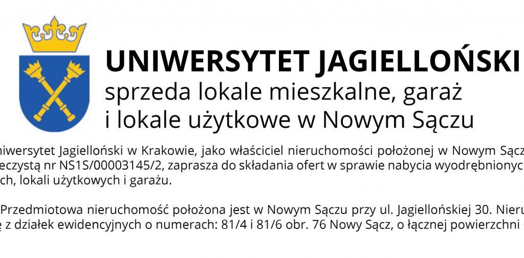 Uniwersytet Jagielloński w Krakowie unieważnia (zamyka) postępowanie