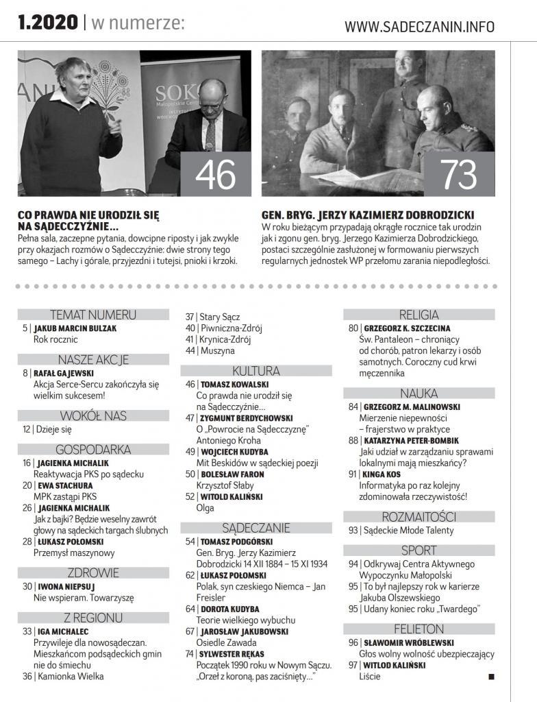 """Spis treści miesięcznika """"Sądeczanin"""" na styczeń 20120"""