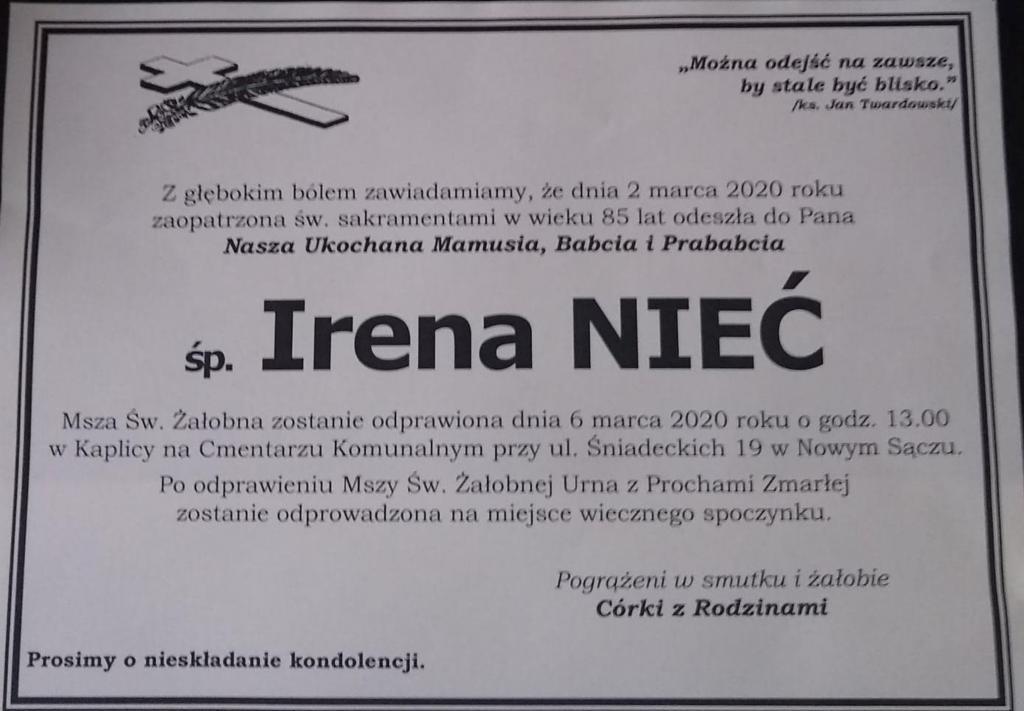 Irena Nieć nie żyje