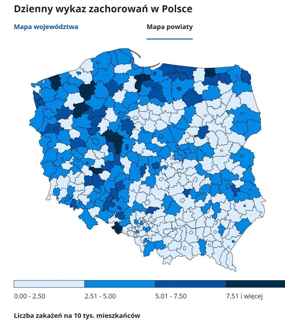 29 listopada - poziom zakażeń w powiatach
