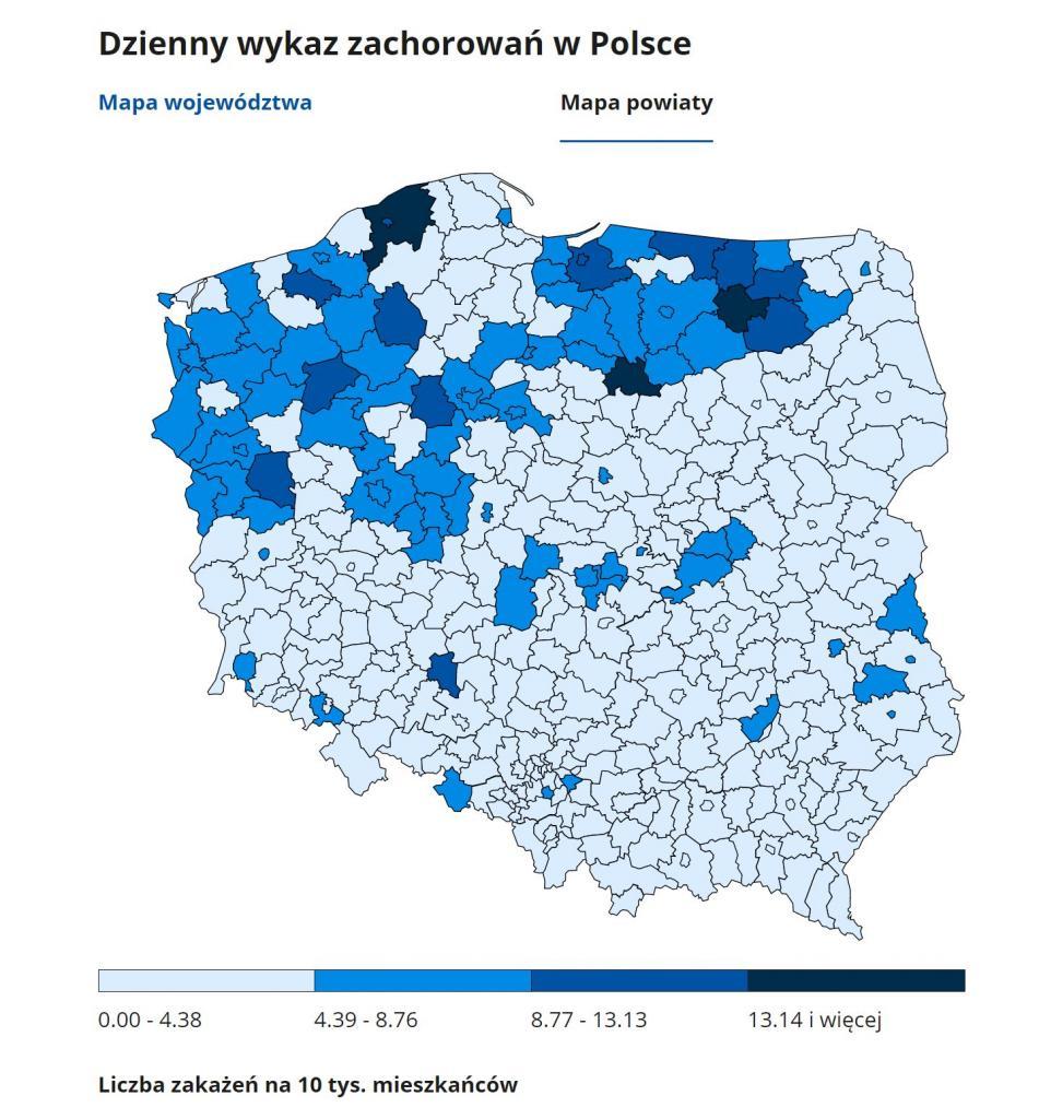 koronawirus 11 grudnia 2020 powiaty