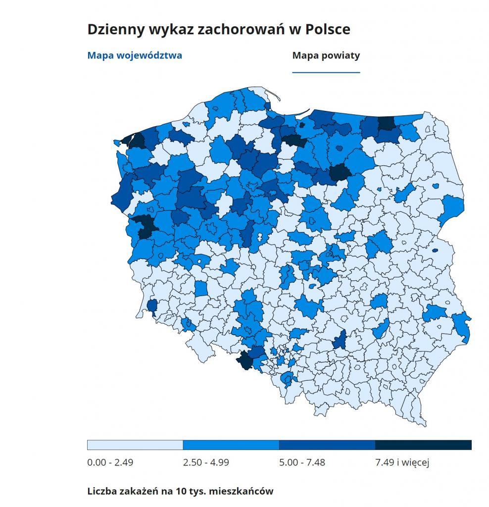 mapa zakażeń koroną w powiatach 6 grudnia 2020 roku