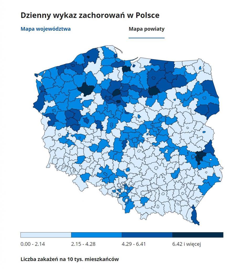 zakażenia w powiatach 13 stycznia 2021