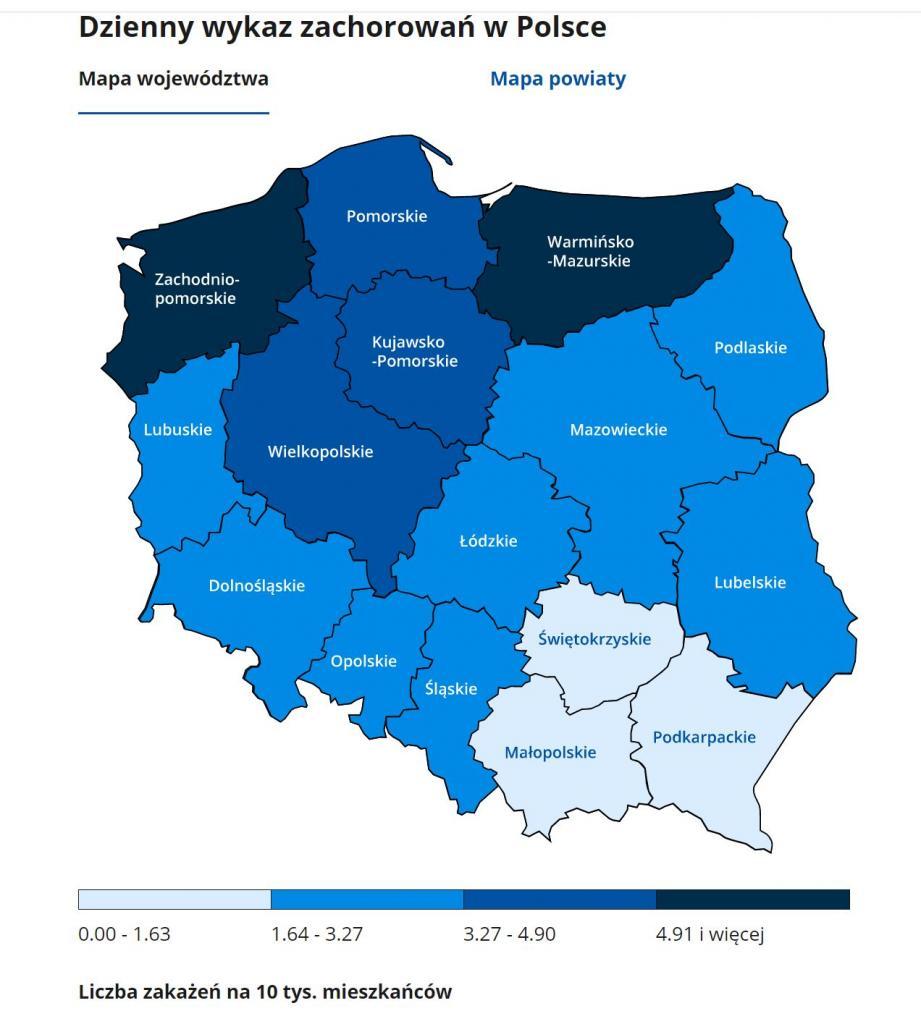 województwa koronawirus 9 stycznia