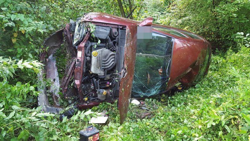 Opel wypadł do rowu w Witowicach Górnych