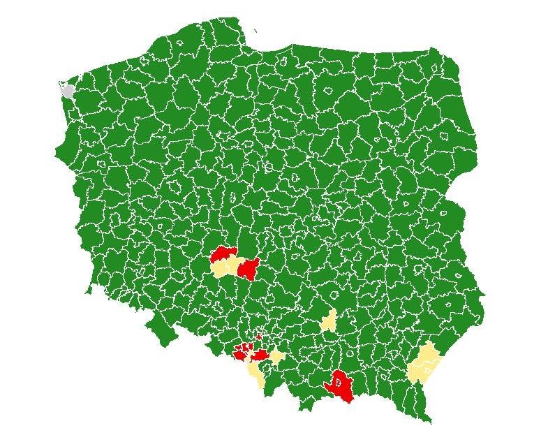 Mapa stref koronawirusa w Polsce, źródło Jacek Cieszyński