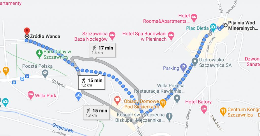 Trasa z Pijalni w Szczawnicy do źródła Wanda, Google Maps
