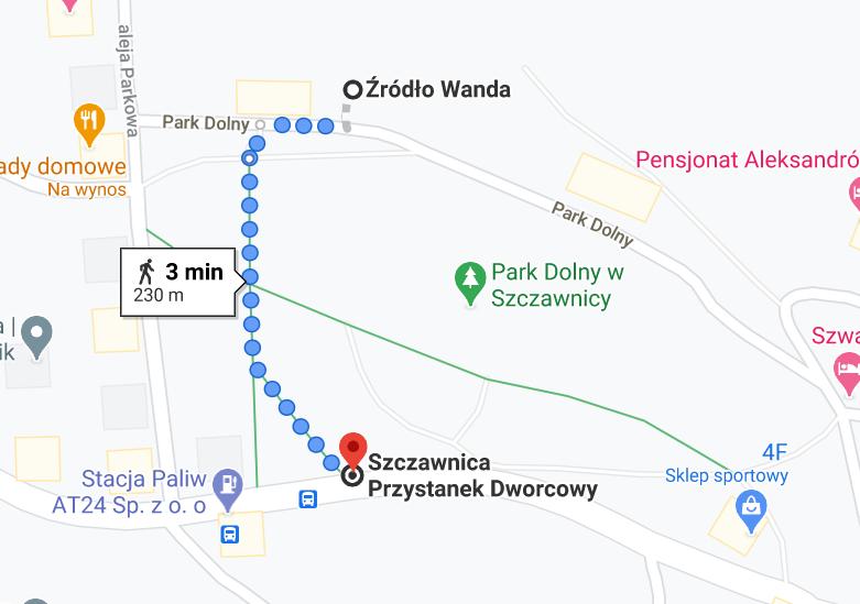 Trasa z przystanku do źródła Wanda, Google Maps