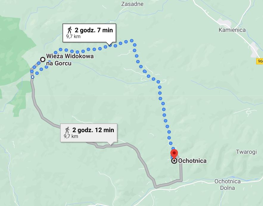 Przykładowe drogi z Ochotnicy na wieżę widokową, google maps