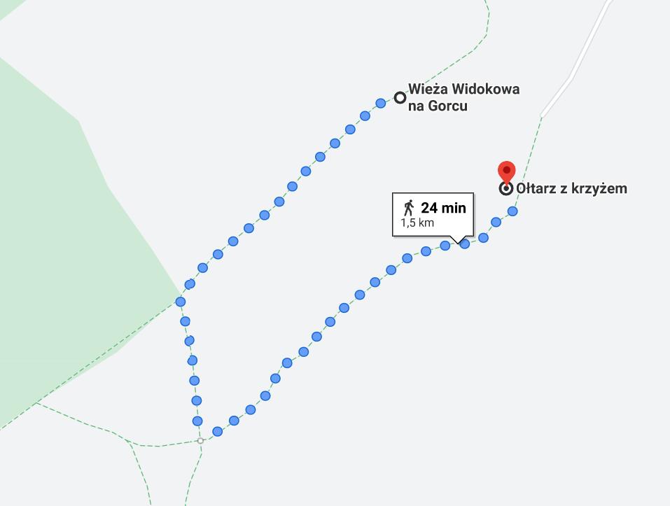 Dojście z wieży widokowej na krzyż, google maps