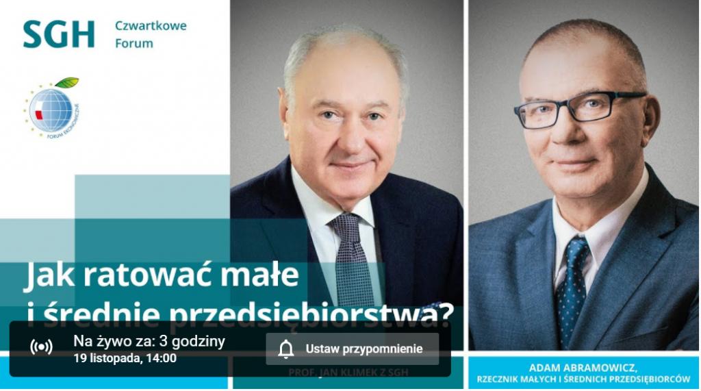 Czwartkowe Forum SGH, Adam Abramowicz i profesor Jan Klimek