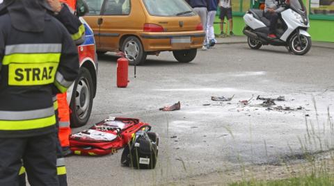 Tragedia w Grybowie. Mężczyzna podpalił się przed sklepem