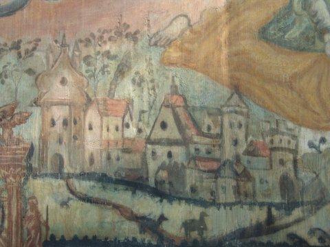 Widok na Stary Sącz, malowidło XVII w. z kościoła św. Rocha w Dąbrówce Polskiej