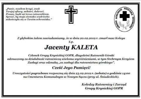 Zmarł Jacenty Kaleta, członek Grupy Krynickiej GOPR. Pogrzeb w sobotę