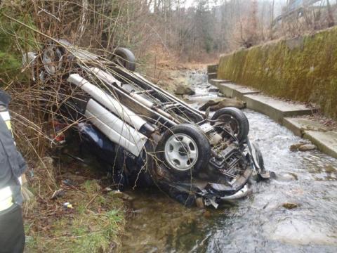 Wpadł autem do potoku. Zginął na miejscu. Policjanci szukają świadków wypadku