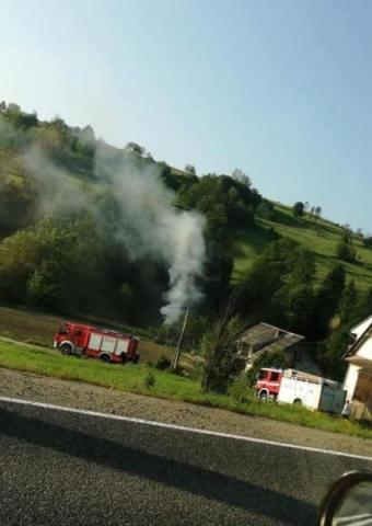 Pożar budynku w Mszanie Dolnej, fot. FB/Powiat Limanowski 112