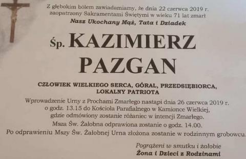 Pogrzeb śp. Kazimierza Pazgana. Znamy datę i miejsce uroczystości pożegnalnej