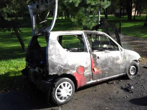 Pożar auta w Rożnowie