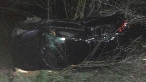 Dramatyczny wypadek w Ptaszkowej. Samochód wypadł z drogi i dachował [ZDJĘCIA]