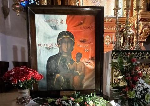 """Obraz Matki Bożej Robotników """"Solidarności"""" dotarł na ziemię sądecką"""