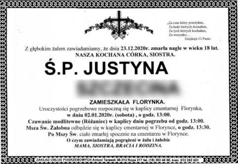 Rodzina i mieszkańcy Florynki pożegnają 18-letnią Justynę. Znamy datę pogrzebu