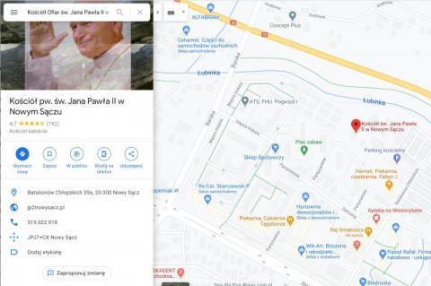 """Mapy Google przyjmą wszystko? """"Kościół ofiar św. Jana Pawła II"""" w Nowym Sączu"""