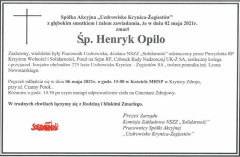 Henryk Opilo - nekrolog