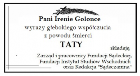 Kondolencja dla Ireny Golonki