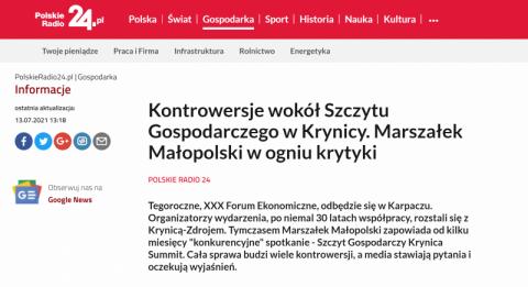 Polskie Radio 24: marszałek Małopolski w ogniu krytyki. Chodzi o Krynica Summit