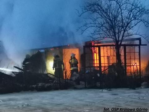 Pożar garażu w Kamionce Wielkiej. Spłonęły dwa samochody [ZDJĘCIA]