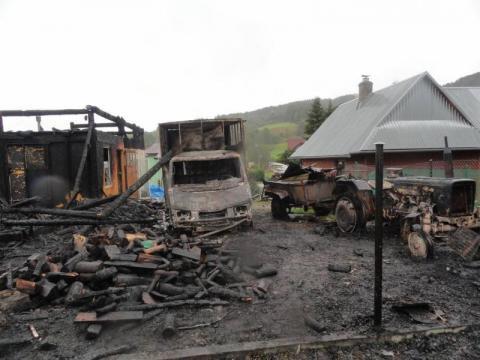 pożar warsztatu stolarskiego w Powroźniku