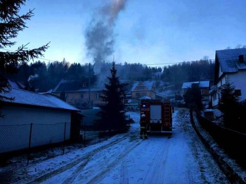 Pożar komina w Powroźniku