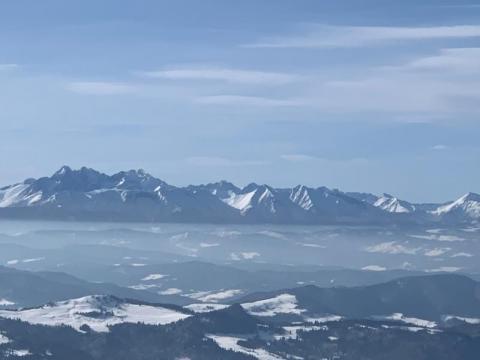 Widok na Tatry z Beskidu Sądeckiego
