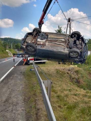 Wypadek w Siołkowej, fot. PSP w Nowym Sączu