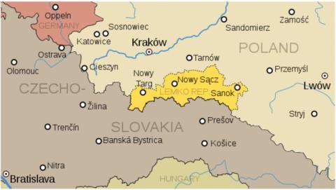 Mapa Ruskiej Republiki Łemkowskiej