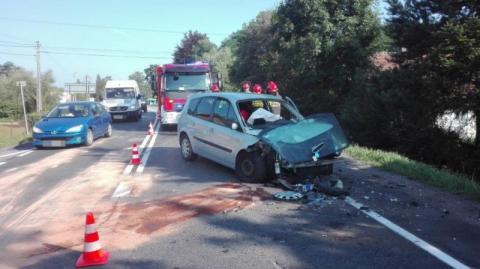 wypadek w Uszwi, fot. KP PSP w Brzesku