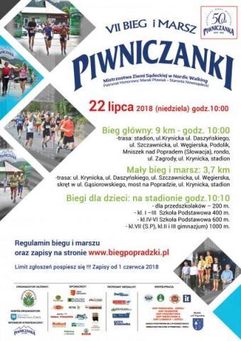 7. Bieg i Marsz Piwnicznianki odbędzie się 22 lipca. Start o godzinie 10